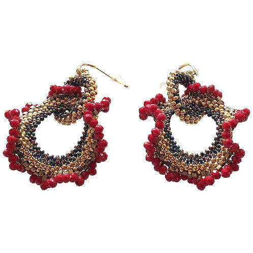 Pair of drop beaded earrings handmade red & gold Murano glass by artist Paola B.