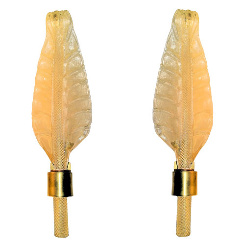 Pair of Murano Mid Century Modern Clear/Gold Glass Leaf Sconces, Attr to Ba