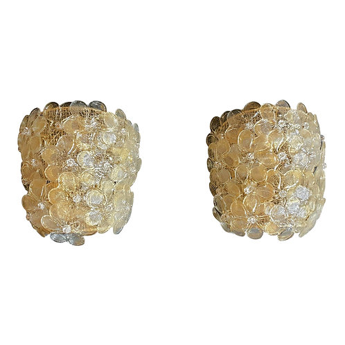 Pair of Mid-Century Modern Murano Glass Gold Flower Sconces by Barovier