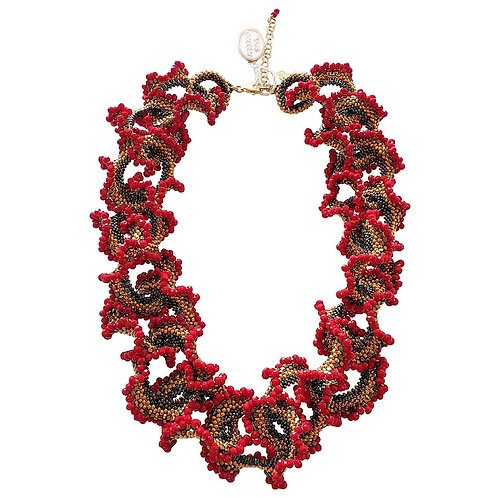 Murano glass beads handmade red & gold necklace, by artist Paola B.