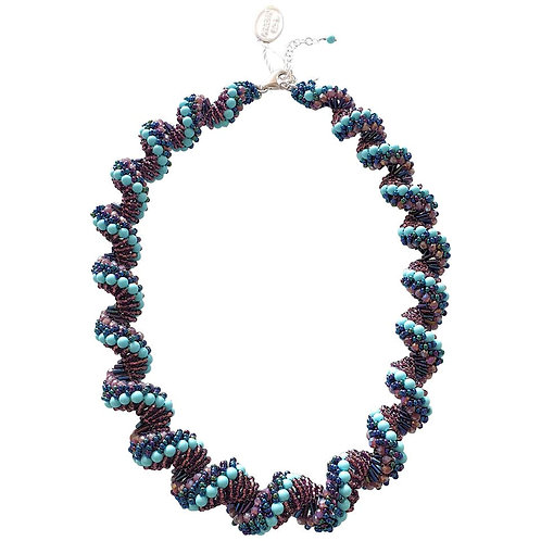 Murano glass beads handmade blue and purple necklace by artist Paola B.