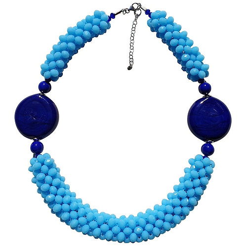 Sky Blue Murano glass beads fashion necklace by artist Paola B.