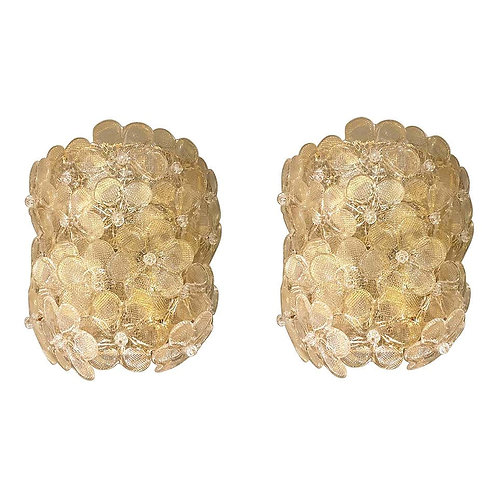 Mid-Century Modern Murano Gold Glass Flower Sconces by Barovier, Italy