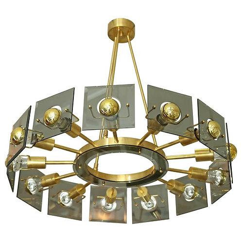 Mid Century Modern Brass/Glass Wheel Shaped Chandelier by Gino Paroldo
