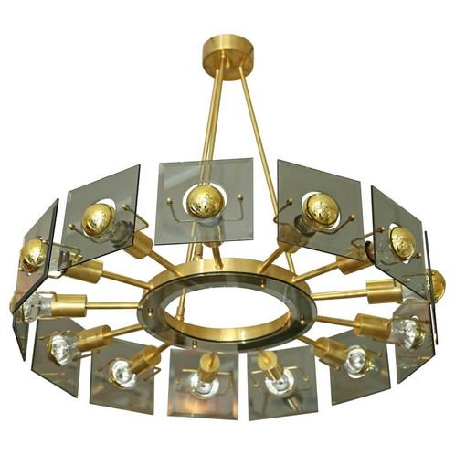 Italian mid century modern brasssmoked glass 13 lights chandelier italian mid century modern brass chandelier wsmoked glass 13 lights aloadofball Images