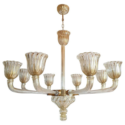 Mid-Century Modern 8 Lights Murano Glass Chandelier by Barovier, Vintage Italy