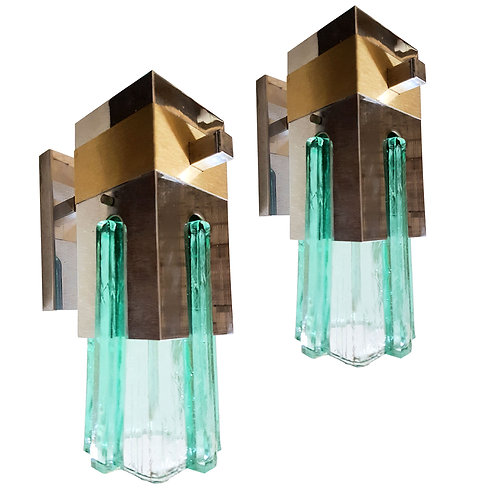 Geometric Green Glass Chrome & Brass Sconces attr Sciolari Mid Century Modern 70