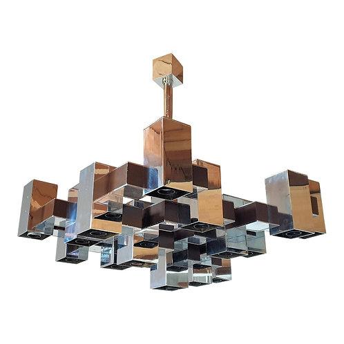 Large square chrome Mid Century Modern 12 lights chandelier by Sciolari