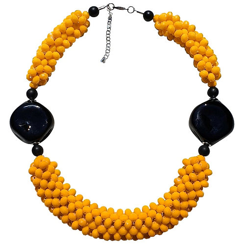 Yellow & Black Murano glass faceted beads necklace, handmade by artist Paola B.