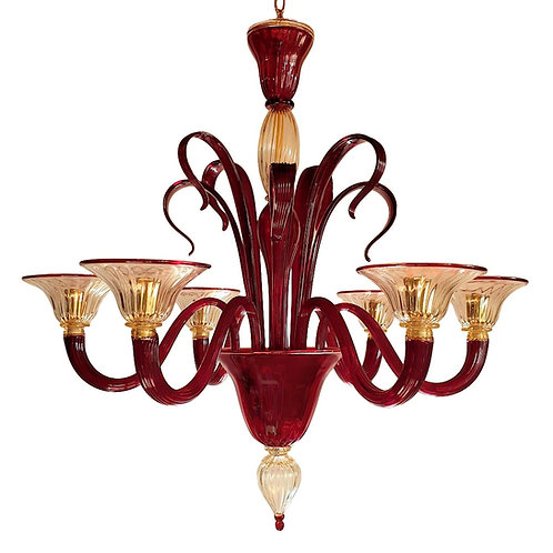 1960s Red & Gold Mid Century Modern Murano Glass Chandelier Venini style Italy