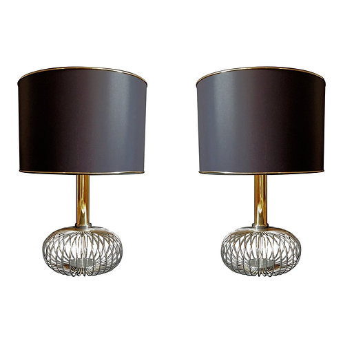 Pair of Chrome & Brass Mid Century Modern Table Lamps, Sciolari style 1970s