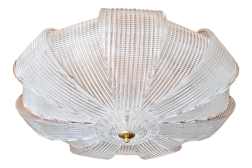 Large Midcentury Murano Clear Glass Flush Mount Lights, Barovier Style, 1970s
