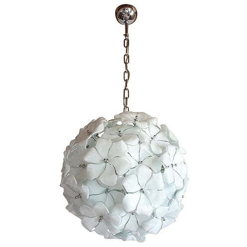 White Flower Murano glass sputnik chandelier, Mid Century Modern 1970s