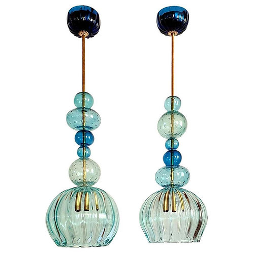Pair of Murano Blue Glass Chandeliers Mid-Century Modern Barovier Style, Italy