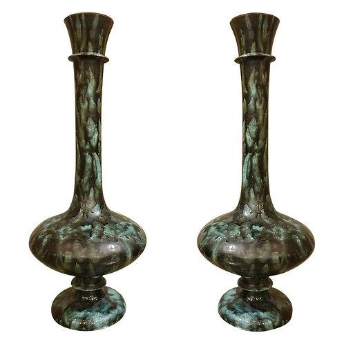 Pair of Large Green & Black Ceramic Vases, Mid-Century Modern, Italy, 1960s