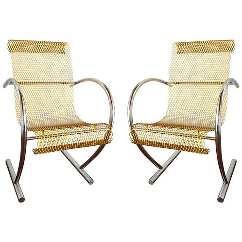 1st edition Original Yellow Steel Chairs Shiro Kuramata, Pastoe Netherlands 1985