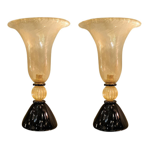 Mid Century Modern Murano Glass clear/gold/black urn Lamps, Venini style