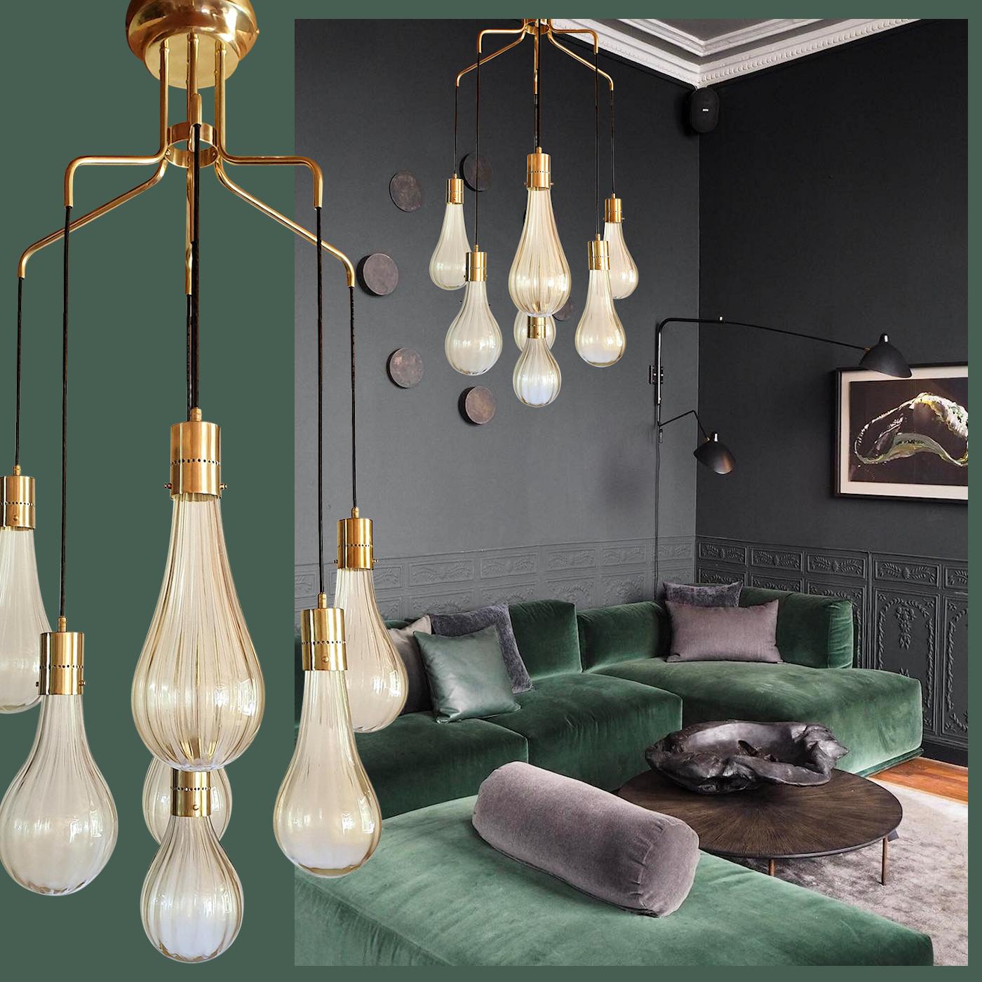 Murano Glass Drop Pendants Mid-Century Modern Chandelier, Mazzega Style