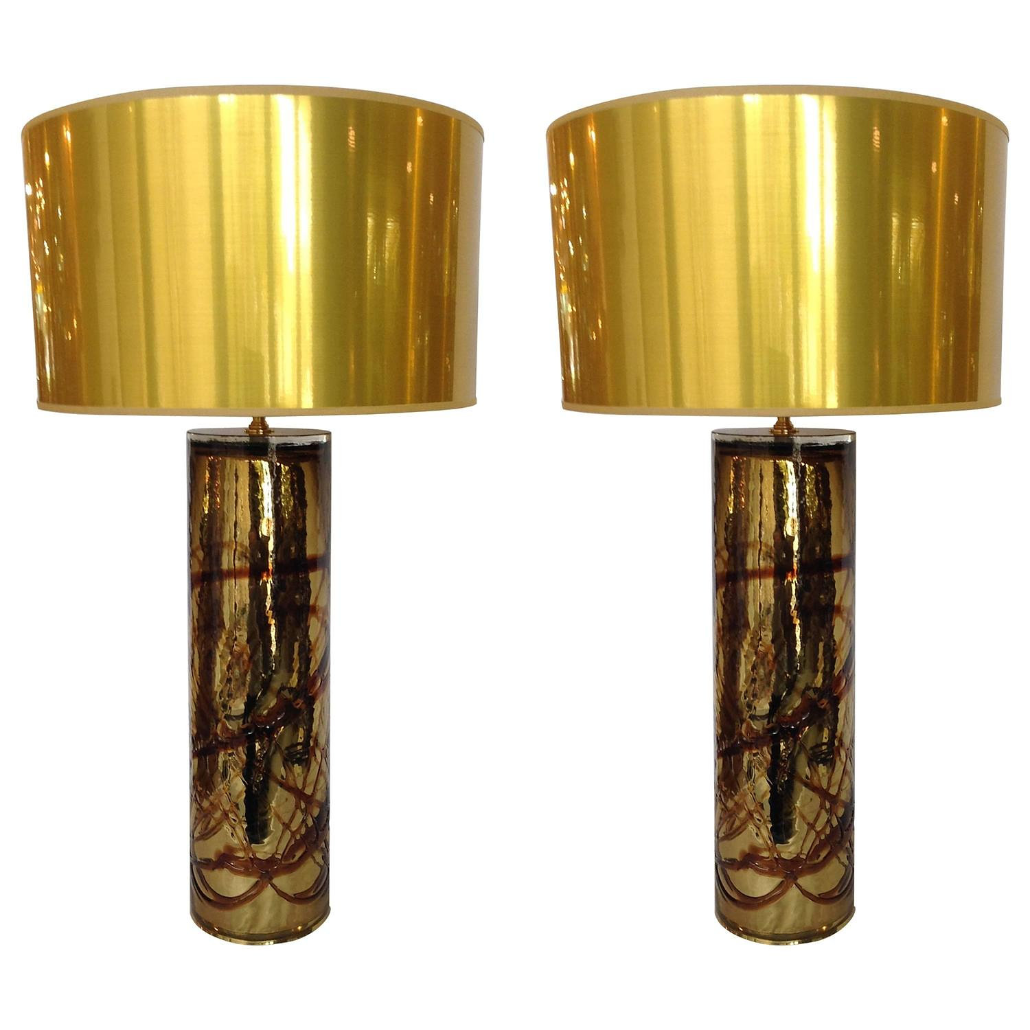 pair of gold and beige cased murano glass lamps with new gold shades