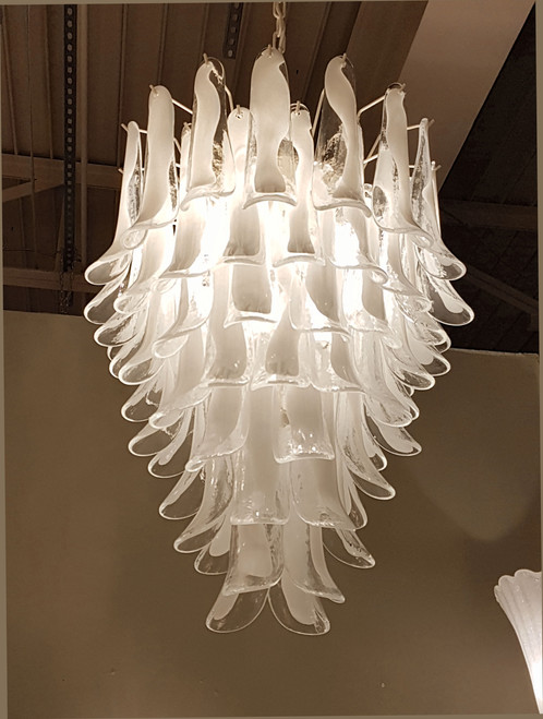Mid century modern murano white glass petals cascading mazzega 7 light rewired ivory frame and chain keeps its white color when lighted mid century modern mazzega murano chandelier mozeypictures Images