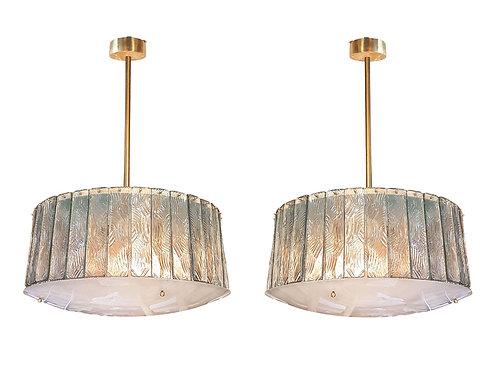 Mid Century Modern Glass & Brass Chandeliers, attr to Fontana Arte