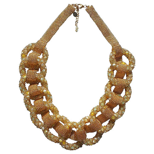 Ivory & gold accents Murano glass beads necklace by  artist Paola B.