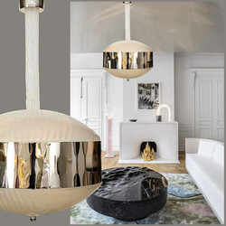 Mid century modern Murano Glass Chandelier with Chrome Accents