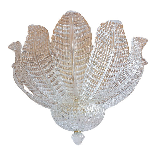 Clear Leaves Murano Glass Mid Century Flush-Mount Chandelier, Barovier style