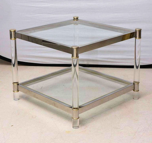 Square Coffee Table Lucite Chrome Brass Vintage West Palm Beach
