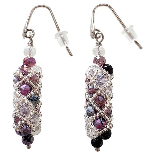 Murano glass beads handmade fashion drop earrings by artist Paola B.