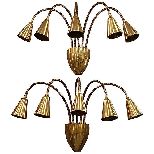 Pair of Mid Century Modern brass articulated sconces, Arteluce