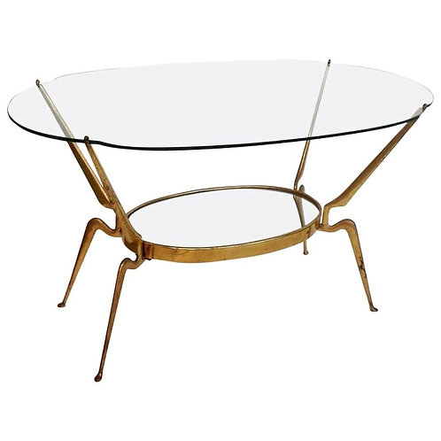 Brass/glass coffee table by Cesare Lacca, Italy Mid Century Modern, 1950s
