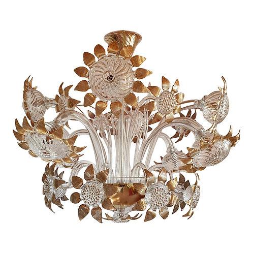 Mid Century Modern Clear & Gold Murano Glass Sunflower Decor Chandelier 1970