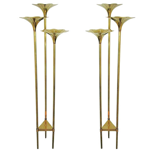 Pair of Mid-Century Modern Brass Floor Lamps, Gabriella Crespi Style Italy 1960s