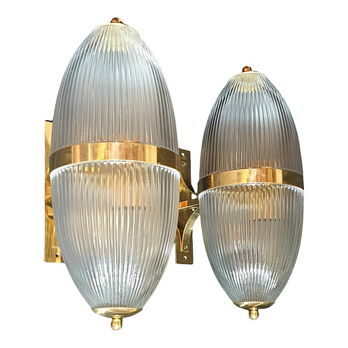 Pair of Large Mid Century Modern Clear Glass & Brass Italian Sconces or Lanterns