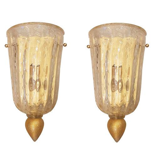 Pair of classic Mid Century Modern Murano glass sconces, Barovier style