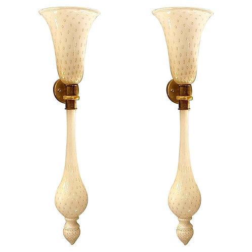 Large pair of mid century modern white Murano Glass Sconces, Venini style
