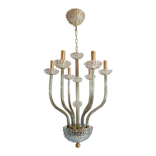 Mid Century Modern Clear & Khaki Green Murano Glass Chandelier by Barovier 1970s