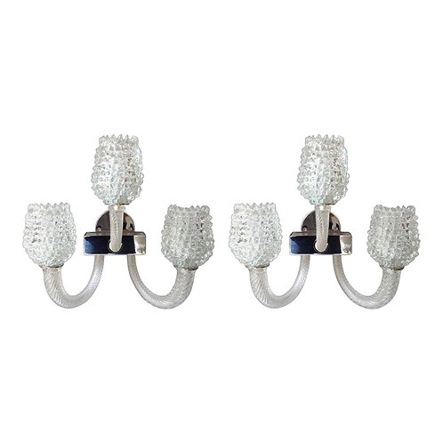 Two pairs of Mid Century Modern clear Murano glass sconces, by Barovier