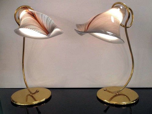 Pair mid century modern murano lily whitebrown lamps woriginal pair of murano glass shades table lamps mid century houston mozeypictures Gallery
