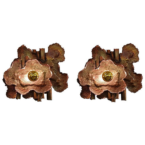 Pair of Brass Mid-Century Modern Brutalist Sconces, Italy 1970s