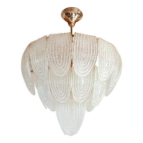 Mid Century Modern Murano Glass & Plated Gold Chandelier by Mazzega