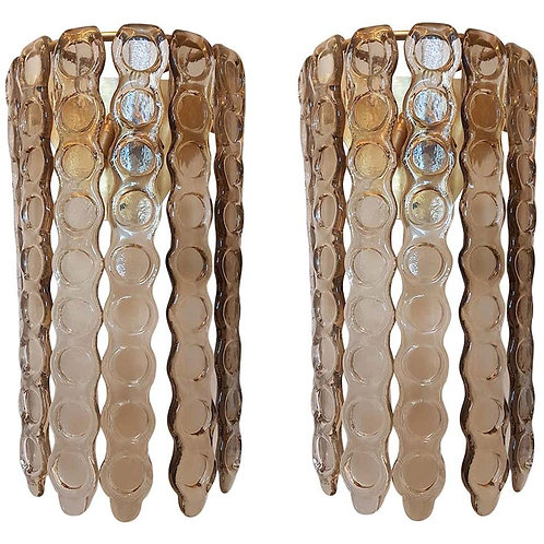 Murano Smoked Glass Mid-Century Modern Wall Sconces, Mazzega Style, 1970s