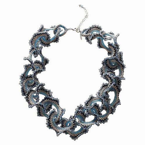 Murano glass beads handmade blue and silver necklace by artist Paola B.