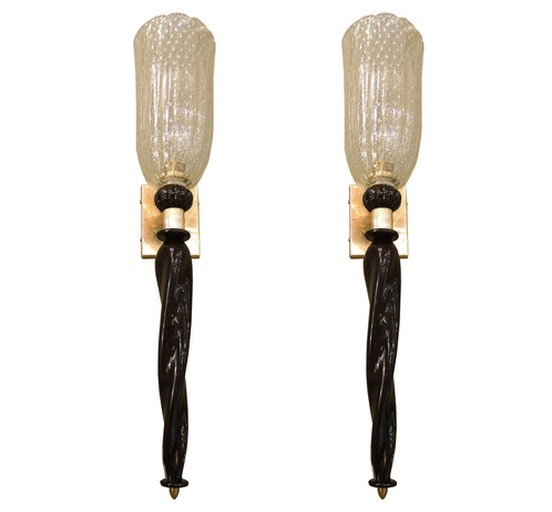 Barovier e Toso Mid Century Modern black/gold pair of torchiere sconces