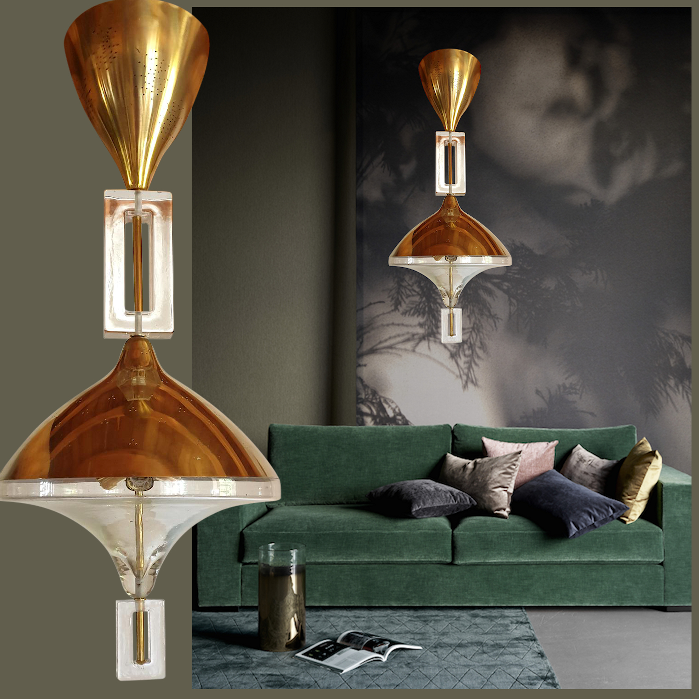 Mid-Century Modern Brass and Murano Clear Glass Chandelier, Seguso Style, 1970s
