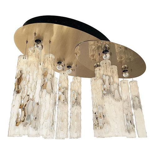 Large flush mount light, w/Murano clear glass, by AV Mazzega, 1970s