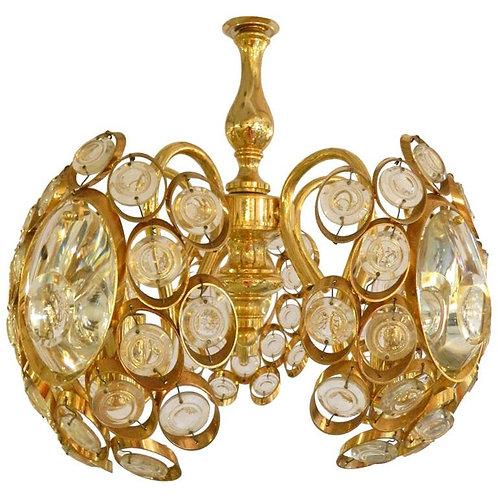 Mid century modern Sciolari Crystal cut plated brassChandelier