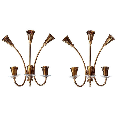 Brass & Glass Mid-Century Modern Six-Light Sconces, Stilnovo Style, Italy, 1960s