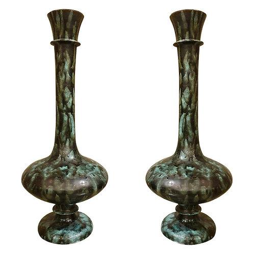 Large Green & Black Ceramic Amphora Vases, Mid-Century Modern, Italy, 1960s
